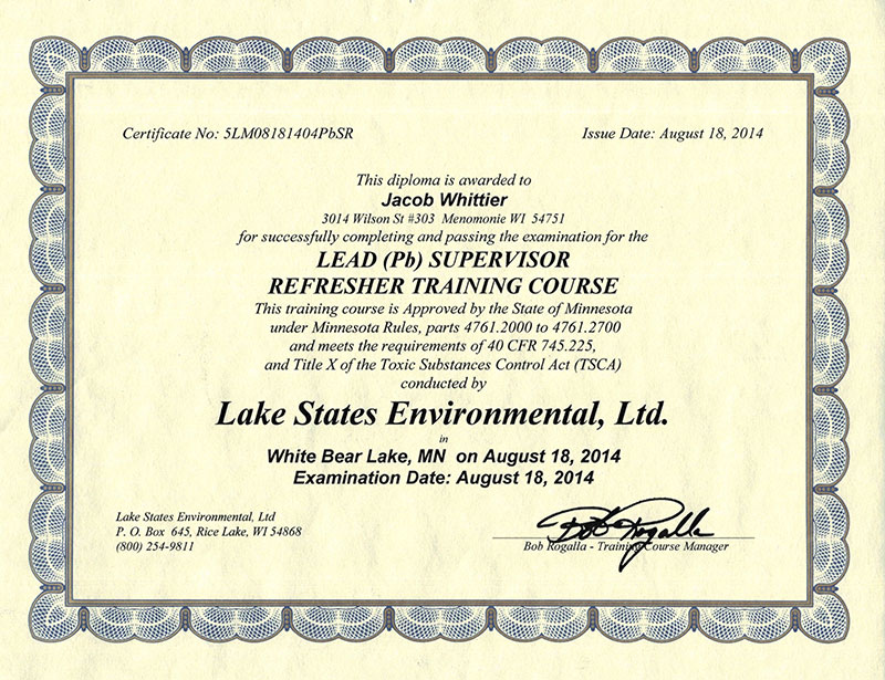 Our Certifications Chippewa Valley Exteriors Llc